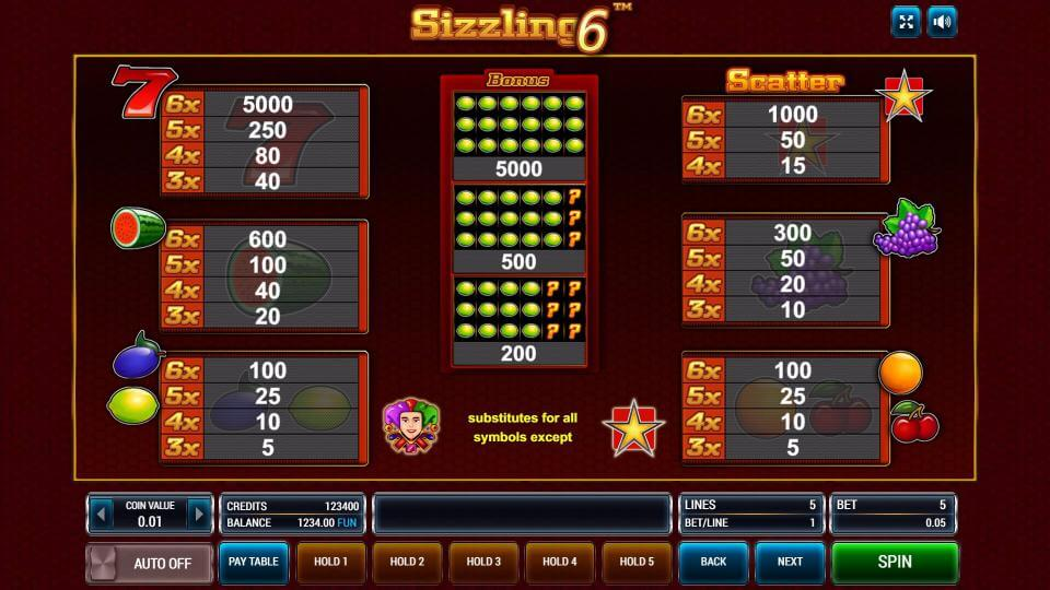 Изображение игрового автомата Sizzling 6 3
